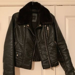 Zara moto jacket with removable faux fur collar